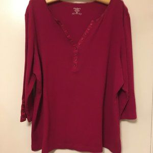 DressBarn 3/4-Sleeve Cotton T-Shirt, 2X, Cranberry
